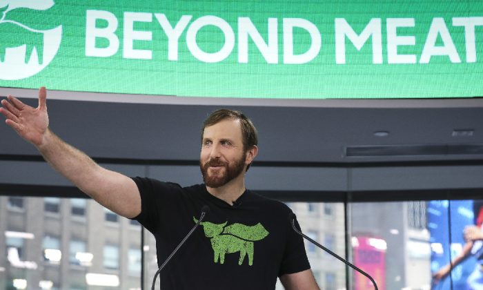 Beyond Meat CEO Ethan Brown speaks before ringing the opening bell at Nasdaq MarketSite in New York City on May 2, 2019. (Drew Angerer/Getty Images)