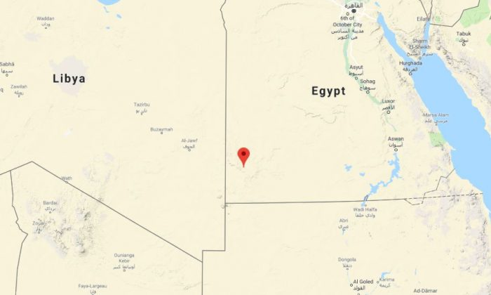 The location of the site in western Egypt (Google Maps)