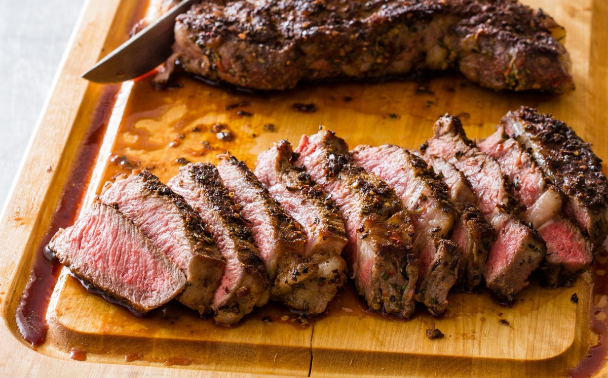 spice crusted rib-eye steaks