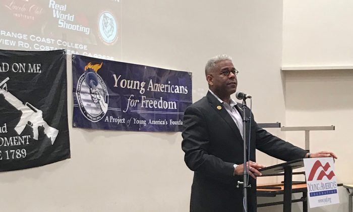 Lt. Col. Allen West before his speech on the Second Amendment at Orange Coast College in Costa Mesa, Calif., on May 1, 2019. (Ian Henderson/The Epoch Times)