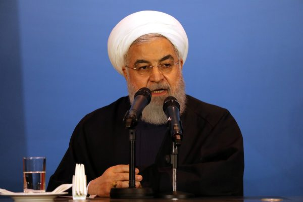 Iranian President Hassan Rouhani speaks during a meeting with tribal leaders