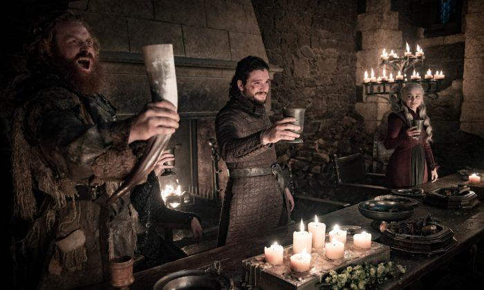"Kristofer Hivju, Kit Harington, and Emilia Clarke in a scene from ""Game of Thrones."" (Helen Sloan/HBO via AP)"