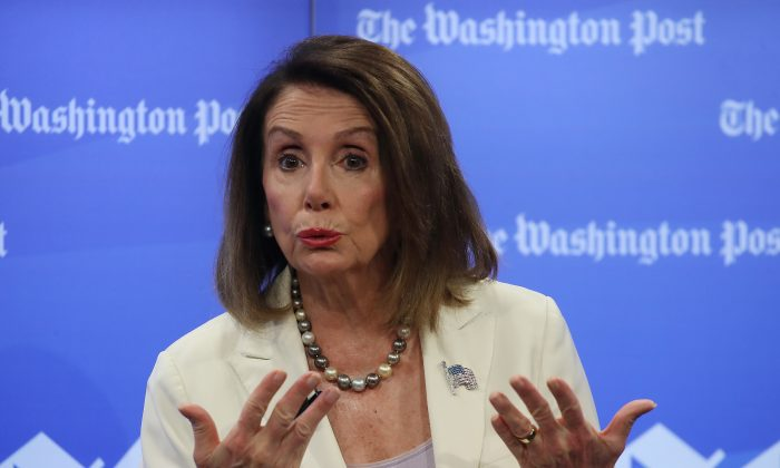 House Speaker Nancy Pelosi (D-Calif.) speaks about the first 100 days of the 116th Congress during an interview with Robert Costa at the Washington Post, in Washington on May 8, 2019.  (Mark Wilson/Getty Images)