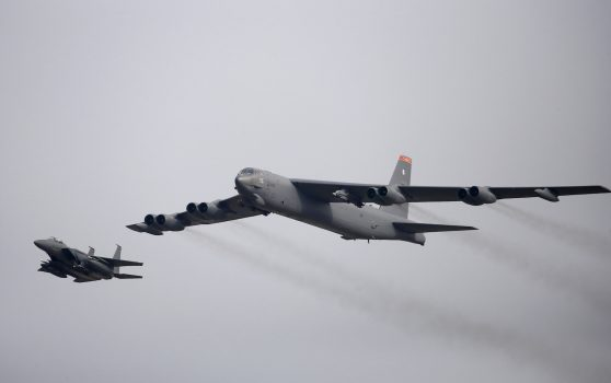 FILE PHOTO: A U.S. Air Force B-52 flies over Osan Air Base in Pyeongtaek