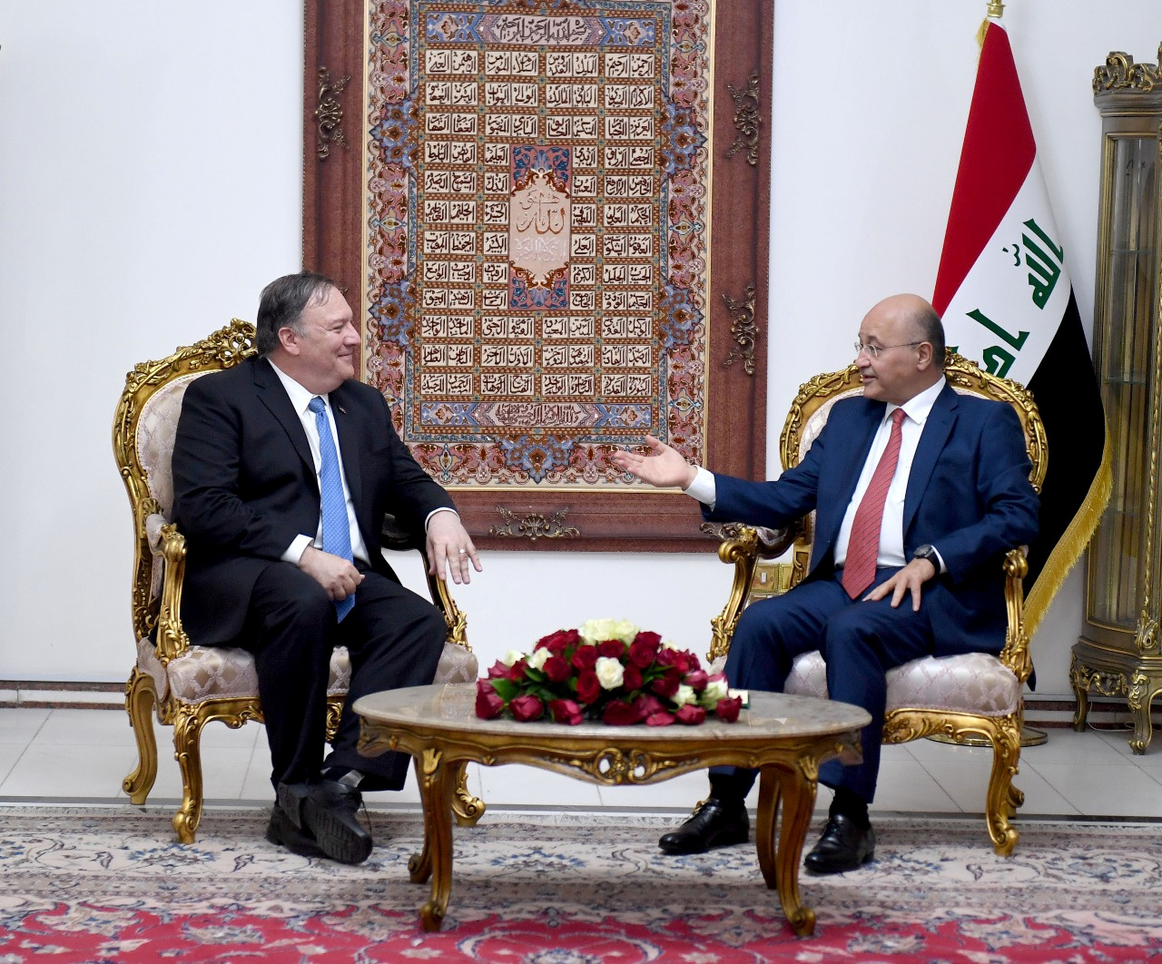 Iraq's President Barham Salih meets with U.S. Secretary of State Mike Pompeo in Baghdad