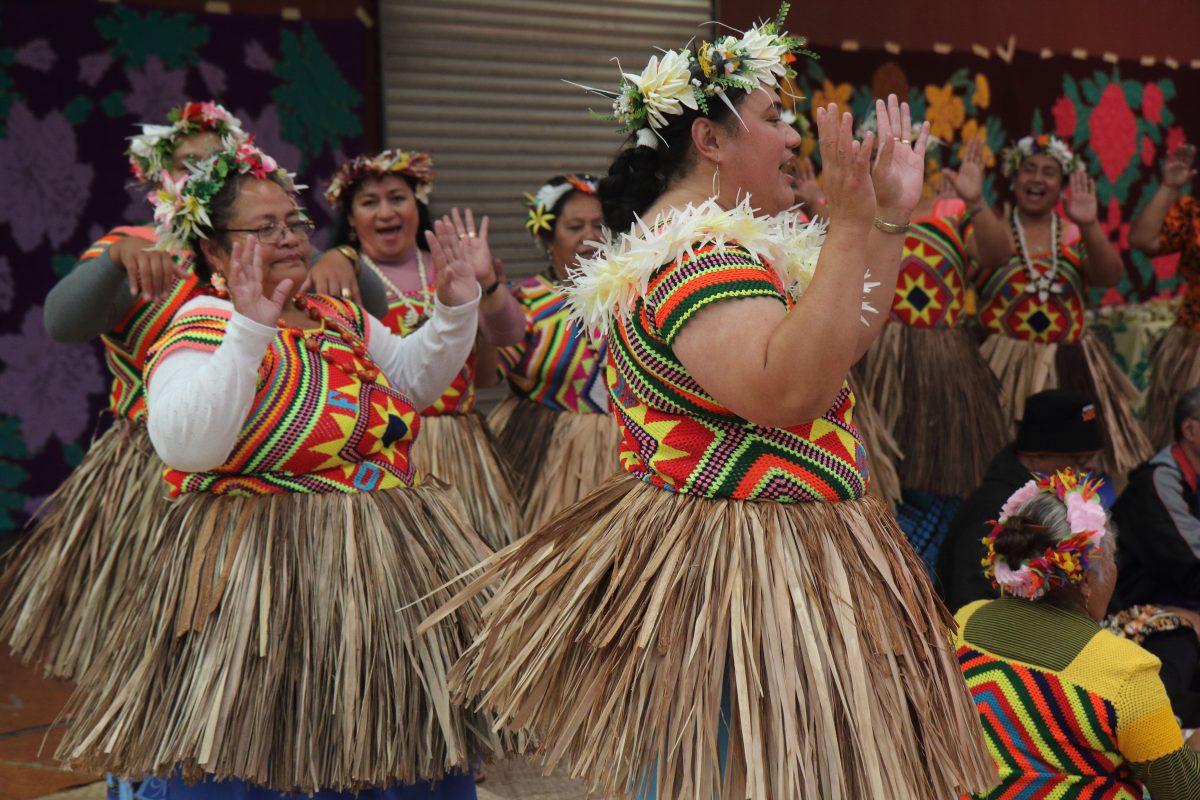 Pacific Island women dance the Fatele of Tuvalu