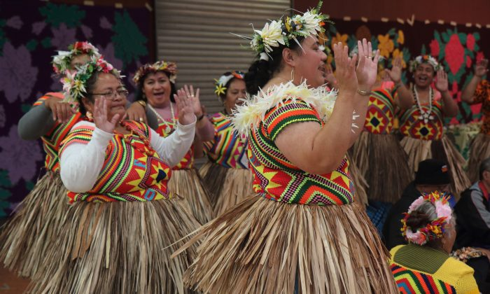 "Tuvaluan women perform the ""fatele"" at the inaugural Tuvalu Arts Festival in Auckland, New Zealand, on April 27, 2019. The fatele is a traditional song and dance that is felt rather than performed. (Lorraine Ferrier/The Epoch Times)"