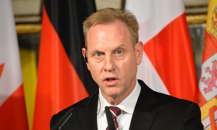 Acting Secretary of Defence Patrick M. Shanahan speaks during a joined statement with the German Defence Minister after the D-ISIS meeting of defence minsters at the Hotel Bayerischer Hof prior to the 55th Munich Security Conference (MSC) in Munich, southern Germany, on Feb. 15, 2019. (Thomas Kienzle/AFP/Getty Images)