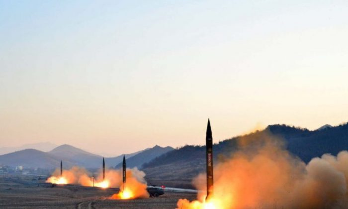 Four ballistic missiles were launched by the Korean People's Army during a military drill at an undisclosed location in North Korea, in a picture dated March 7, 2017. (AFP/Getty Images)
