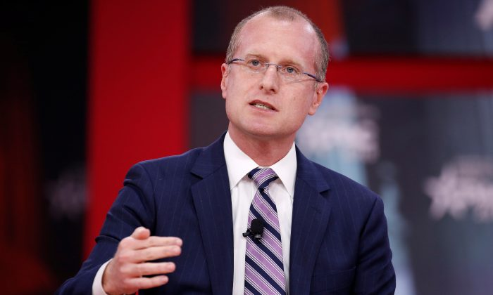 Commissioner Brendan Carr of the Federal Communications Commission speaks at the Conservative Political Action Conference (CPAC) at National Harbor, Maryland, U.S. on Feb. 23, 2018. (Joshua Roberts/Reuters)