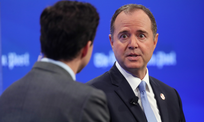House Intelligence Committee Chairman Rep. Adam Schiff (R) (D-Calif.) answers questions from Washington Post reporter Robert Costa (L) in Washington, D.C., on April 30, 2019. (Win McNamee/Getty Images)