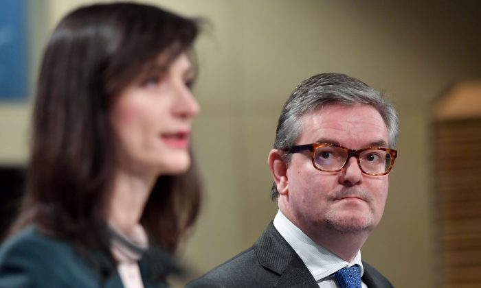 European commissioners Julian King (R) and Mariya Gabriel hold a press conference on the code of practice signed by online platforms to fight disinformation at the European Commission in Brussels on Jan. 29, 2019. (Emmanuel Dunand/AFP/Getty Images)