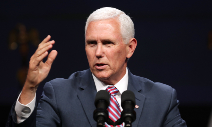 Vice President Mike Pence delivers a keynote address during Access Intelligence's Satellite 2019 Conference and Exhibition at the Walter E. Washington Convention Center in Washington on May 6, 2019. (Chip Somodevilla/Getty Images)