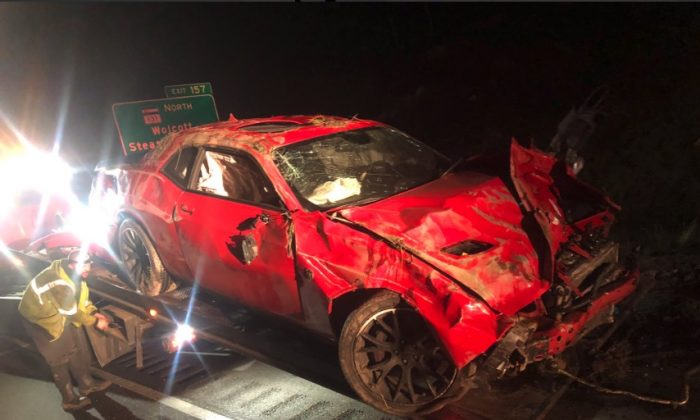 Dodge Challenger Hellcat muscle car that crashed following a high-speed chase on the I-70 in Colorado on May 8, 2019. (Colorado State Patrol)