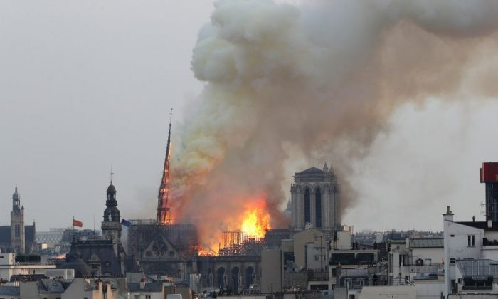 Notre Dame cathedral as it burns in Paris on April 15, 2019. (AP Photo/Thibault Camus)