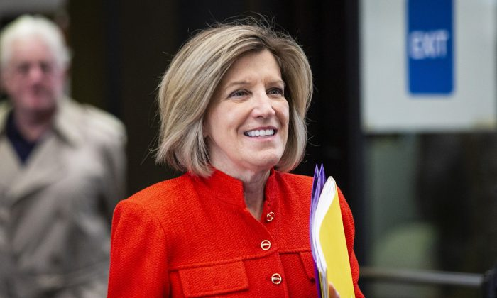 """Former State Appeals Court Judge Sheila O'Brien walks out of the Leighton Criminal Courthouse in Chicago after a hearing about appointing a special prosecutor to investigate the Cook County State's Attorney's office handling of """"Empire"""" actor Jussie Smollett's case, on May 2, 2019. (Ashlee Rezin/Chicago Sun-Times via AP)"""