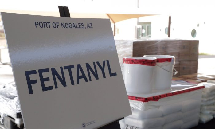 Packets of fentanyl mostly in powder form and methamphetamine, which U.S. Customs and Border Protection say they seized from a truck crossing into Arizona from Mexico, is on display during a news conference at the Port of Nogales, Ariz., on Jan. 31, 2019. (U.S. Customs and Border Protection/Reuters)