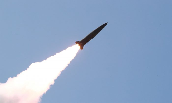 A missile is seen launched during a military drill in North Korea, in this photo supplied by the Korean Central News Agency (KCNA) on May 10, 2019.  (KCNA vie Reuters)