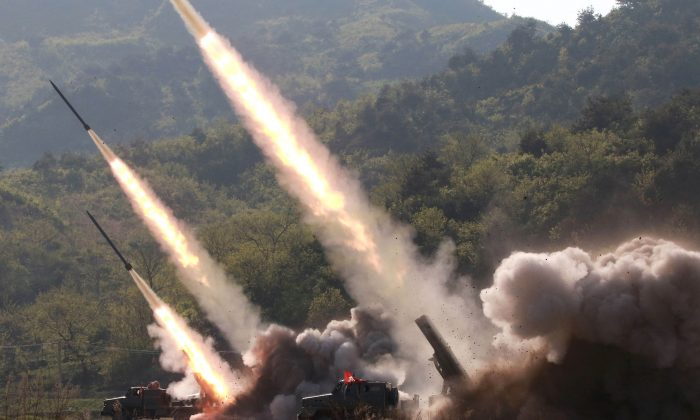 Missiles are seen launched during a military drill in North Korea, in this photo supplied by the Korean Central News Agency (KCNA) on May 10, 2019.  (KCNA via Reuters)