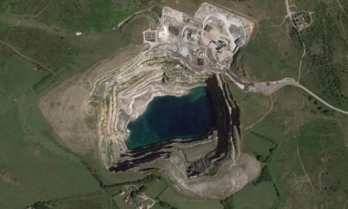 Aerial view of the quarry at which 81-year-old pensioner Joy Worrall's body was found on Nov. 22, 2018. (Google Maps)
