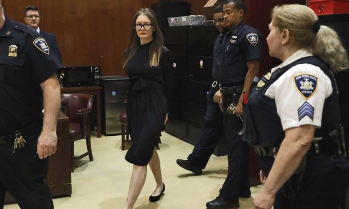 Anna Sorokin arrives for sentencing at New York State Supreme Court, in New York, on May 9, 2019.  (Richard Drew/AP Photo)