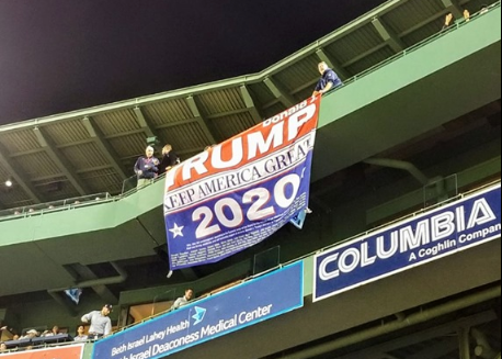 """Dion Cini hanged a """"Trump 2020: Keep America Great"""" at Boston's Fenway Park on May 10, 2019. (Courtesy of Dini Cini)"""