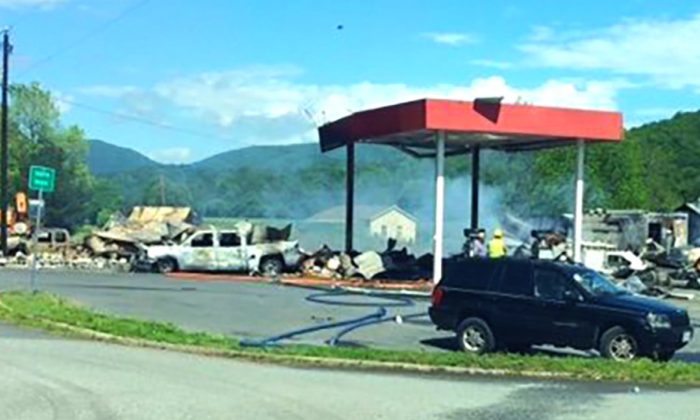 Photo shows the damage after the gas station exploded in Rockbridge County, Va., on May 10, 2019. (Virginia State Patrol)