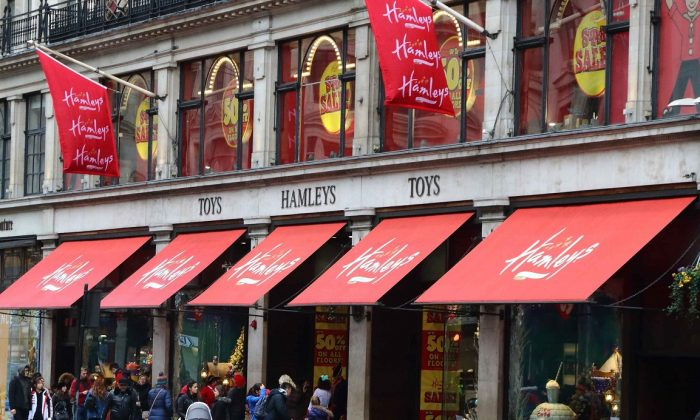 Hamleys store and brand logo seen in London. (Keith Mayhew/SOPA Images/LightRocket via Getty Images)