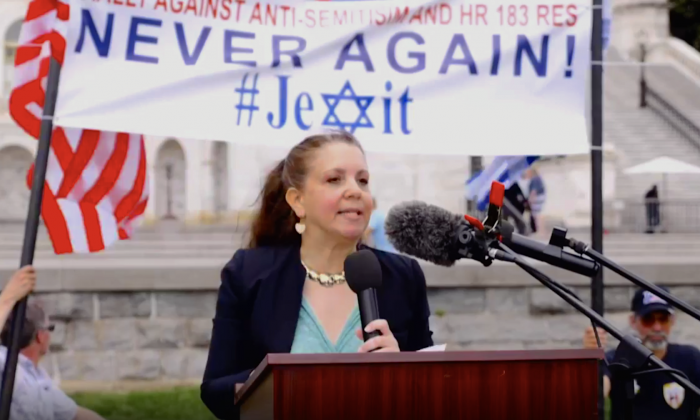 Deborah Weiss speaks at #Jexit Rally calling for Jews to leave the Democratic Party, in front of the Capitol in Washington on May 7, 2019. (screenshot/Jexit)