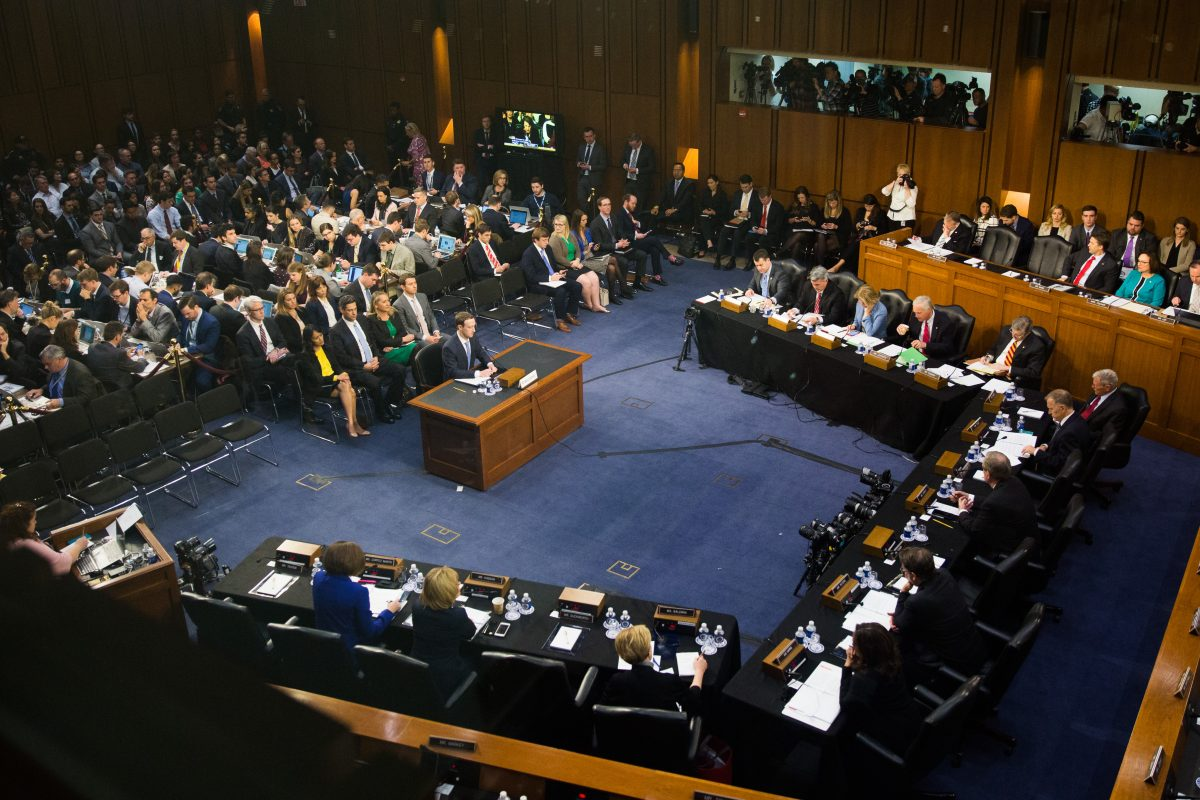 Facebook founder and CEO Mark Zuckerberg testifies at a Senate Judiciary and Commerce Committees Joint Hearing in Washington