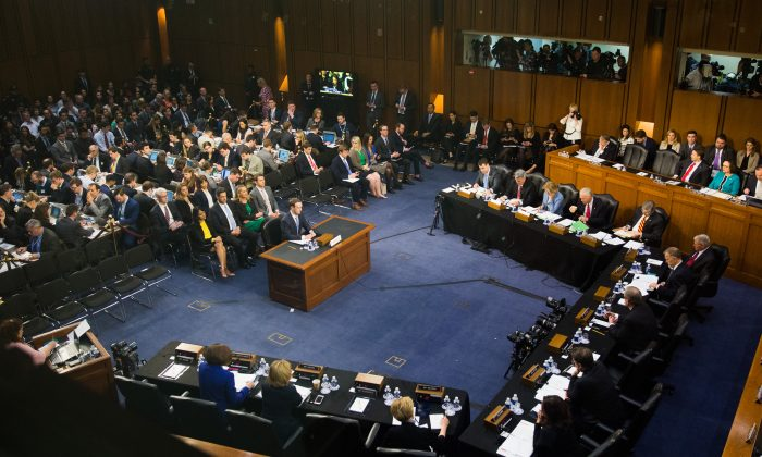 Facebook founder and CEO Mark Zuckerberg testifies at a Senate Judiciary and Commerce Committees Joint Hearing in Washington on April 10, 2018. (Samira Bouaou/The Epoch Times)