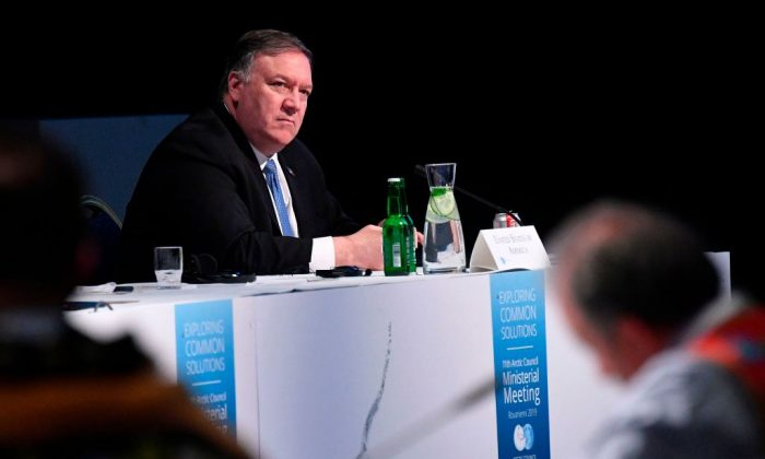 US Secretary of State Mike Pompeo takes part in the 11th Ministerial Meeting of the Arctic Council in Rovaniemi, Finland on May 7, 2019. (Mandel Ngan/AFP/Getty Images)