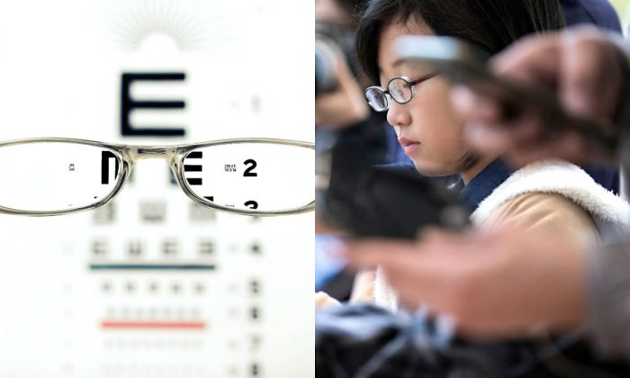 L: Snellen Eye Chart (David Travis/Unsplash). R: Child at a smartphone launch in Tokyo on Nov, 3, 2017. (Tomohiro Ohsumi/Getty Images)