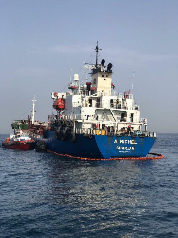 The Emirati-flagged bunkering tanker A. Michel off the coast of Fujairah,