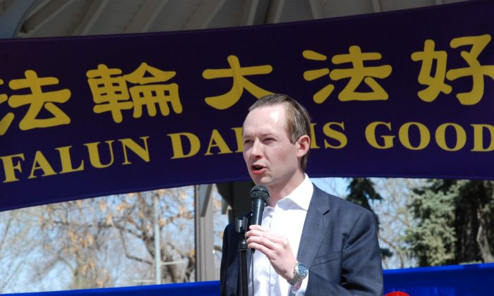 Conservative MP Michael Cooper speaks during the International Falun Dafa Day celebration in Edmonton on May 11, 2019. (Pingsan Qu/The Epoch Times)