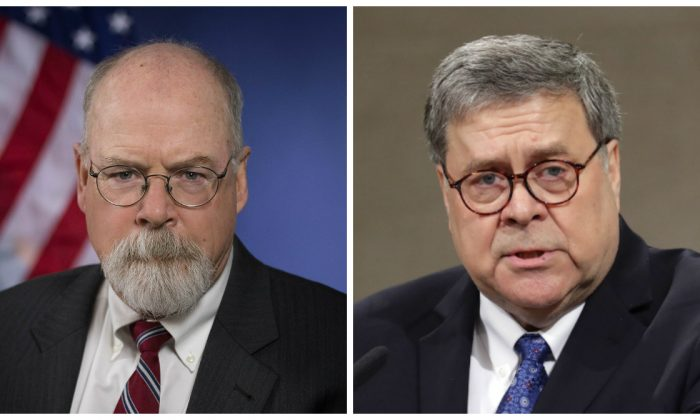 United States Attorney John Durham and Attorney General William Barr in file photos. (Department of Justice; Chip Somodevilla/Getty Images)