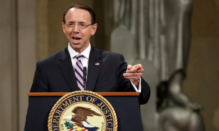 Deputy Attorney General Rod Rosenstein delivers remarks during his farewell ceremony at the Robert F. Kennedy Main Justice Building in Washington on May 09, 2019. (Chip Somodevilla/Getty Images)