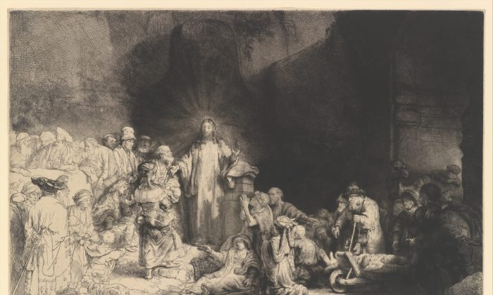 """""""The Hundred Guilder Print (Christ Preaching),"""" circa 1649, by Rembrandt van Rijn. Etching, engraving, and drypoint; second state of two. Plate: 11 inches by 15 1/2 inches. H. O. Havemeyer Collection, bequest of Mrs. H. O. Havemeyer, 1929. (The Metropolitan Museum of Art)"""