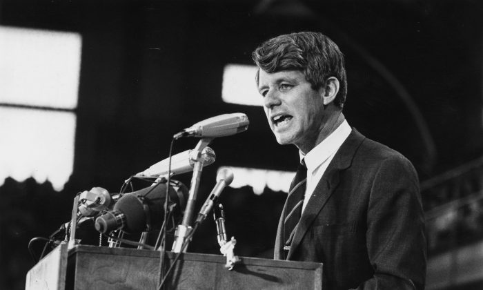 1968:  Senator Robert Kennedy speaking at an election rally.  Harry Benson/Express/Getty Images