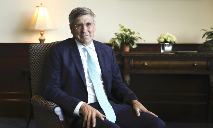 Stephen Moore, distinguished visiting fellow for Project for Economic Growth at The Heritage Foundation in Washington, on May 14, 2019. (Samira Bouaou/The Epoch Times)