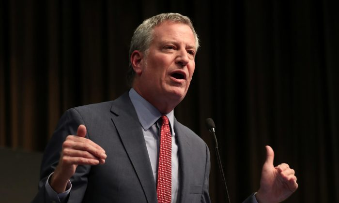 New York City Mayor Bill de Blasio speaks at the 2019 National Action Network National Convention in N.Y. on April 3, 2019. (Shannon Stapleton/Reuters)