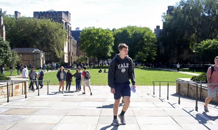 Students walk through the campus of Yale University in New Haven, Conn., on September 27, 2018. (Yana Paskova/Getty Images)