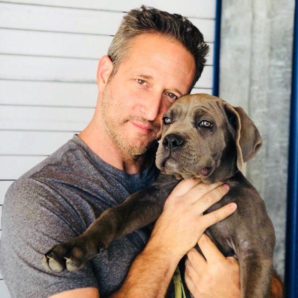 Schwab with a dog