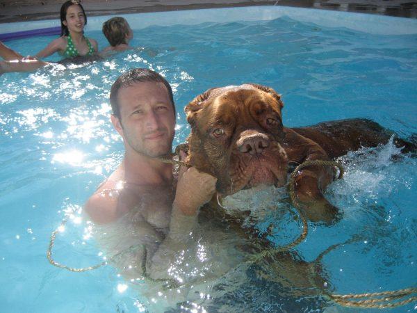 Schwab in the pool