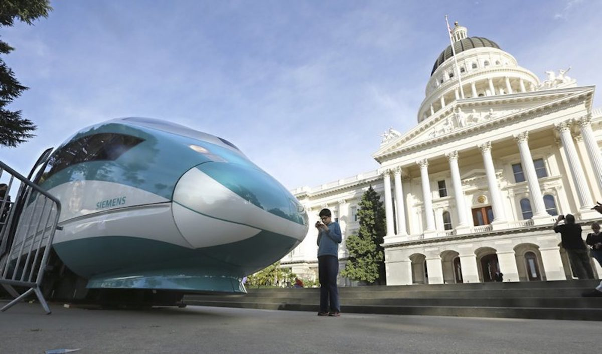 A full-scale mock-up of a high-speed train