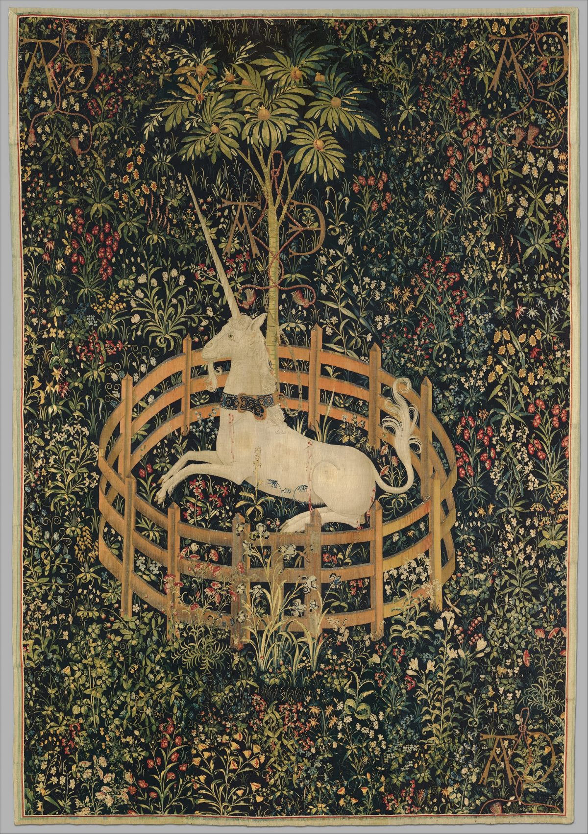 Unicorn in fenced cage