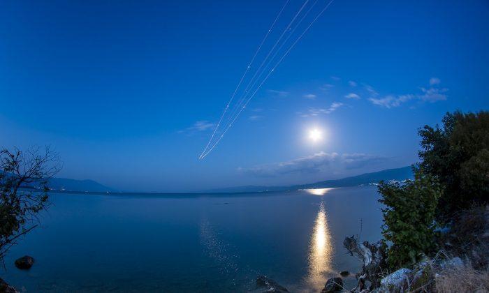 """""""Blue Flower Moon"""" photographed near the Ohrid """"St. Paul the Apostle"""" Airport, in Macedonia, on May 16, 2019. (Stojan Stojanovski/CNN iReport)"""