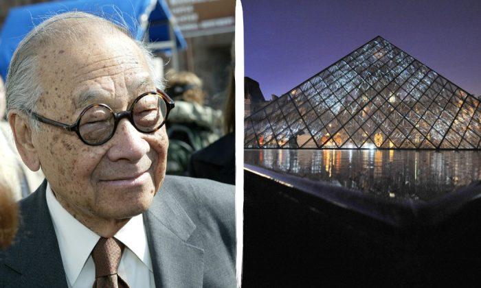 L: Architect I.M. Pei at the Ellis Island Museum in New York City on April 21, 2004. (Paul Hawthorne/Getty Images) R: Louvre in Paris on April 9, 2009. (Lionel Bonaventure/AFP/Getty Images)
