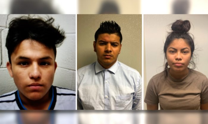 (L-R) Josue Fuentes-Ponce, Joel Escobar and Cynthia Hernandez-Nucamendi. The teenagers were arrested and charged as adults with first-degree murder after a missing was found dead in a Riverdale, Md. creek on May 15, 2019. Authorities say they're working to identity a fourth person involved in the slaying. (George's County Police Department via AP)