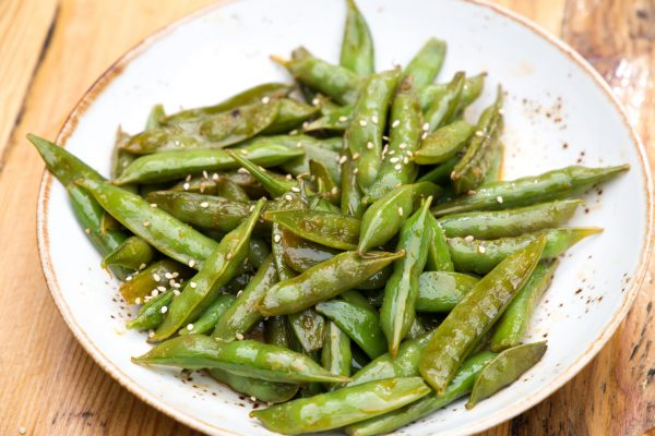 grilled sugar snap peas with sesame